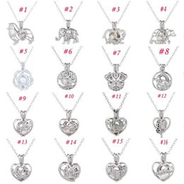 wish pearl pendants Australia - Cage Pendant Necklace Female Love Wish natural Pearl With Oyster Pearl Mix Design Fashion Hollow Locket Clavicle Chain Necklace wholesale
