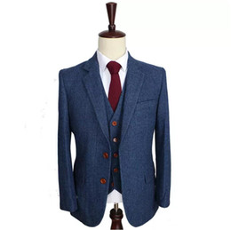 $enCountryForm.capitalKeyWord UK - Wool Blue Wedding Tuxedos Herringbone Retro Gentleman Style Customized Men's Suits Tailor Suit Blazer Suits for Men (Jacket+Pants+Vest)