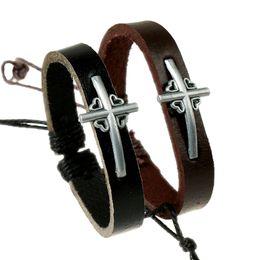 China cross bracelets 12pcs lots Free Shipping Wholesale cheap Engraved mens women cross Leather Bracelets hand-knitted bracelets suppliers