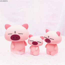 night light anime NZ - Resin Cartoon Animals Pink Pig Anime Action Figure Printed Piggy Bank Saving Money Box Kids Gift Decoration Night Light Toys New