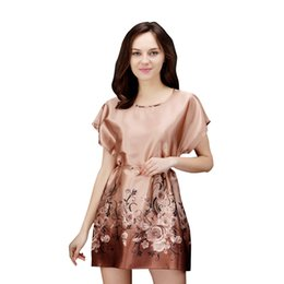 China Korean style Women's imitated silk summer nightgown printing round collar short sleeve sleepwear girl's loose home clothing suppliers