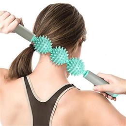 Black Blocks Australia - Environmental Massage Stick Roller Wand with Spiky Ball Fitness Yoga blocks Equipment
