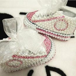 Crystal Diamond Fabrics Australia - Dollbling Rhinestone Pearl Crystal Baby Girl Chil Shoes Handmade Shining Diamond First Walkers Soft Sole Princess Shoes