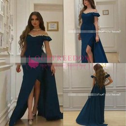 Saudi Style Dress NZ - 2019 Sparkly Beaded Off The Shoulder Evening Dresses Saudi Arbaic Style Sexy Side Split Formal Prom Dresses With Train Party Gown Custom