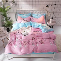 Pink Green Girls Bedding Canada - Cartoon Pink blue Flower Bedlinen Girls Kids Bedding Sets Duvet Cover Pillowcases Bed Sheet Single Twin Double king bedclothes