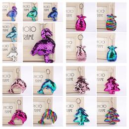 phone kid 2019 - Sequin Mermaid flamingo Keychain christmas trees Keyring pineapple Cell Phone Bag Pendant dolphin Key Ring Home Decor Ki