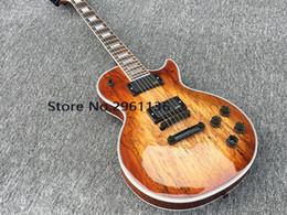 Emg ElEctric guitar online shopping - Custom Shop Spalted Maple Top Brown Sunburst Electric Guitar Copy EMG Pickups Black Hardware