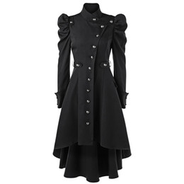 Gamiss Women Winter Puff Shoulder Buon Up Dip Hem Trench Coat New Fashion Stand-Up Collar High Waist Outerwear Gothic Coat