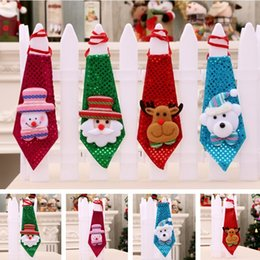 Xmas ties online shopping - Children Christmas Tie LED Sequins Tie Santa Snowman Little Bear Tie Fashion Xmas Party Decorations T5I021