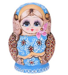 Russian Toy Dolls UK - 10Pcs Set Wooden Cute Russian Nesting Dolls Lovely Flower Round Stacking Russian Matryoshka Dolls for Home Decoration Craft Gift