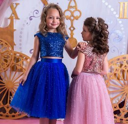 Barato Pérolas Sparkle Vestidos De Noiva-2018 lantejoulas Sequins Rosa Rosa e azul royal Dois pedaços Beads A Line Flower Girl Dresses Joelho Comprimento Girls Wedding Prom Party Dress