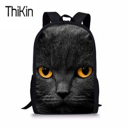 6ed7d237f7d9 Cool Kids Backpacks For School Boys Canada - THIKIN Black Cat Print  Schoolbag For Kids Boys