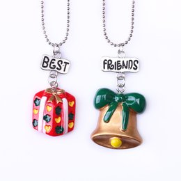 """Best Gift For Xmas Australia - 2PCS Set Kids """"Best Friends"""" Christmas Necklaces Xmas Jingle Bell & Gift Bag Necklace For Children Kid Jewelry"""