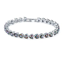 Chain Hot Movies NZ - 3PCS   LOT Luckyshine Hot sell fashion 925 sterling silver newest natural Heart Fire Mystic Topaz gemstone chain bracelets