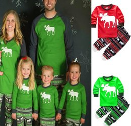 XMAS Christmas GREEN Kids Adult Family Matching Pajamas Set Long Sleeve Top  Pants Deer Reindeer Parents Child Sleepwear Nightwear bedgown 475d0bebd