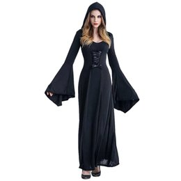 $enCountryForm.capitalKeyWord UK - 3 Color Medieval Sexy Gothic Witch Hooded Dress Adult Women Halloween Costumes Vampire Witch Party Masquerade Long Dress