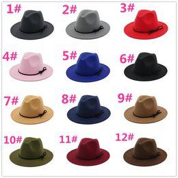 Felt balls wholesale online shopping - Fashion vintage hats for women Elegant fashion Solid felt Fedora Hat Band Wide Flat Brim Jazz Hats Stylish Trilby Panama Caps R101