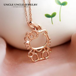 644254103 Lovely Pendant Rose Gold Color Cute Hello Kitty Style Woman Sweet Necklace  Wholesale Gift