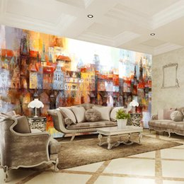 color 3d painting NZ - Creative Customized 3D Wall Mural Photo Wallpaper Oil Painting of Color Building For Living Room Bedroom Decorative TV Sofa Backdrop