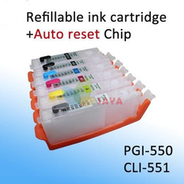 printer chips wholesalers Australia - 6 colors CLI-551 Refillable Ink For Canon PIXMA MG6350 MG7150 iP8750 MG7550 printer Ink with ARC Chip 6 colors set