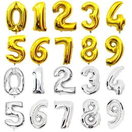 $enCountryForm.capitalKeyWord Australia - 42 Inches Figure Balloon Silver Golden Digital 0-9 Happy Birthday Foil Air Ball Wedding Birthday Party Decoration Kids Balloons