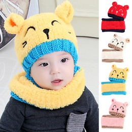 8e3416b47e48 Unisex Child Beanies Cap Set Baby Kids Cartoon Design Knitted Cashmere Hat  and Scarf Collar Boys Girls Winter Warm Suit Set 2pcs