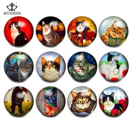 Snap Cartoon Australia - Royalbeier 12pcs lot Mix Cartoon Cat Pattern Glass Sead Beads 18mm Snap Button bijuterias Charm Bracelet Jewelry Women berloque