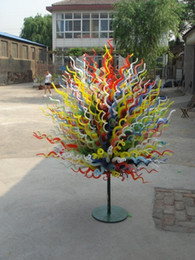 $enCountryForm.capitalKeyWord Australia - Hand Blown Murano Glass Sculpture for Sale Outdoor Garden Decoration Glass Art Standing Lamp Style Multicolor Flower Trees Sculpture