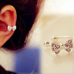 $enCountryForm.capitalKeyWord NZ - Fashion Woemn Crystal Bowknot Ear Cuff Clip Ear Studs No Piercing Clip Earrings for Womens Fashion Jewelry