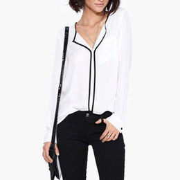 black white canvas prints UK - Fashion Womens Casual White Shirt Long Sleeve Black Side Chiffon Blouse V-neck Work Shirts Female