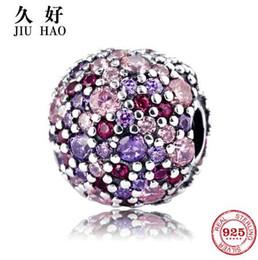 Vero fascino in argento sterling 925 Rosa viola Perline colorate tonde Forma per clip Fit Originale Pandora Charms Bracciale gioielli in Offerta