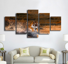 $enCountryForm.capitalKeyWord Australia - No Frame Fashion 5 Pieces Animal Painting Tiger Running In Water Printed on Canvas for Home Decoration Cheap Wall Art Picture