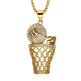 basketball jewelry for men UK - Iced Out Crystal Number 23 Basketball Pendants Necklaces Bling Gold Stainless Steel Sports Necklace for Men Jewelry