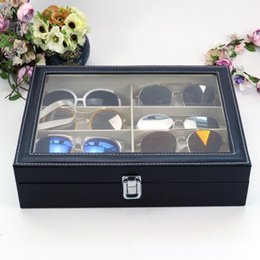 Box Jewelry Storage Organizer Black Australia - 8 Grid Glasses Box leatherette Black Pattern Sunglasses Boxes Jewelry Storage Organizer Collections Case Gifts for Father Day