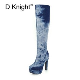 denim blue ladies shoes 2019 - D Knight Stretch Denim Women Knee-high Boots 2018 Autumn Winter Lady Platform High Heels Large Size 33-48 Warm Snow Boot