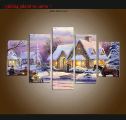 $enCountryForm.capitalKeyWord Canada - Large 5 Piece Thomas Kinkade Landscape Oil Painting Reproduction Giclee Print Canvas Modern Art wall for living room Home Decor Ttms024