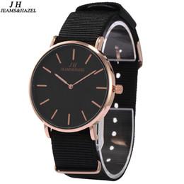 Discount jh watches JH Super Slim girl Quartz Wristwatch 36MM Males black fashion lady nylon strap Luxury bracelet Quartz casual wrist Watch