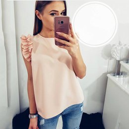 short office shirts women Canada - 1PC Women Sexy Blouses Summer Casual Butterfly Sleeve Chiffon Short Sleeve Tops Shirts blusas mujer Ladies Office Blouse Z5270