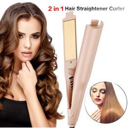 $enCountryForm.capitalKeyWord NZ - 2 in 1 Hair curler Hair Straightener Titanium Gold Plate beauty Temperature control Hair Straightener curler US EU UK plug