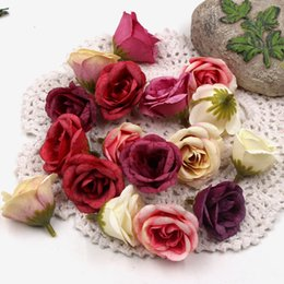 White Rose Crafts Australia - 100pcs 4cm Fresh Rose Bud Artificial Flowers For DIY Wedding Car Party Home Handmade Wreath Crown Decoration DIY Scrapbook Craft