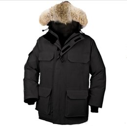 $enCountryForm.capitalKeyWord Canada - 2018 hot sale Men's down jacket Coat Fur Expedition parka Winter thick cotton padded jacket cotton mens jacket white collar cap Nagymaros