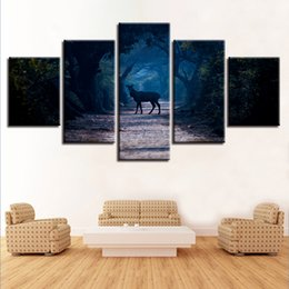 Art Canvas Prints Australia - Modular Canvas HD Prints Posters Home Decor Wall Art 5 Pieces Forest Animal Deer Paintings Natural Landscape Pictures Framework