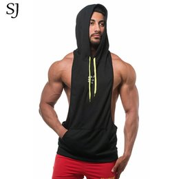 Blue vest hoodie online shopping - 2017 Gyms Golds Vest Men Cotton Hoodie Sweatshirts Fitness Clothes Bodybuilding Tank Top Men Sleeveless Sportswear Tees Shirt