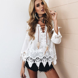 girls white lace blouses Canada - 2017122520 Elegant crochet floral lace blouse shirt Women 3 4 sleeve white Tunic blouses Boho 2017 Summer Girls hollow top Renda Blusas