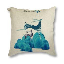 $enCountryForm.capitalKeyWord UK - Seat Cushion Cotton Linen Cushion Christmas Deer Throw Pillow Sofa Car Bedroom Decorative Pillows 45x45cm Almofada Home Decor