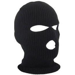 snow wool beanies 2019 - 3 Hole Mask Balaclava Black Knit Hat Face Shield Beanie Cap Snow Winter Warm F05 cheap snow wool beanies