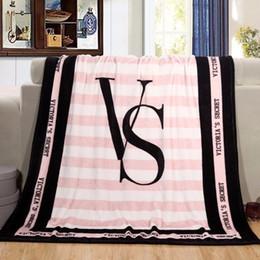 Best Chrismas Gifts Australia - Rectangle stripe Pink VS Secret Flannel Blanket Adjust To Adult Child use Sofa travel Blanket best chrismas gift.