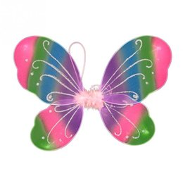 Chinese  New Colorful Girls Fairy Butterfly Wings Show Props Fancy Kids Halloween Party Dressing Up Cosplay Costume Accessories 35x 42cm manufacturers