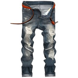 Torn Trousers Canada - New Arrivals Streetwear Biker Jeans Mens Zipper Denim Pants Moto Bike Jeans-man-straight-leg Knee Holes Torn Slim Fit Trousers