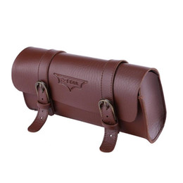 China 2 Colors Bicycle Tail Bag PU Leather Cycling Bag Saddle Pouch Tail Pannier Personalized Riding Vintage Bicycle Bike Bag 180g suppliers
